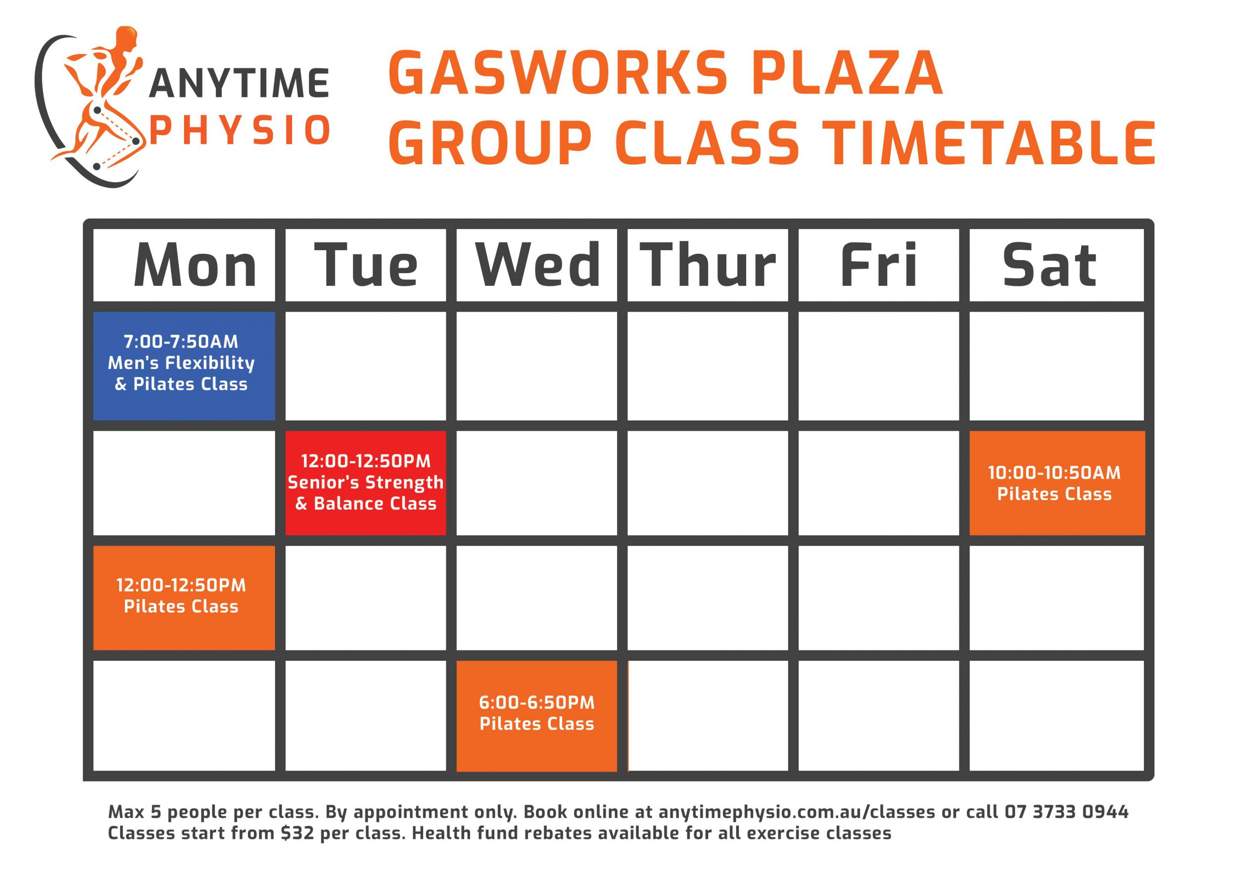 Anytime Physio Newstead Reformer Pilates Class Timetable